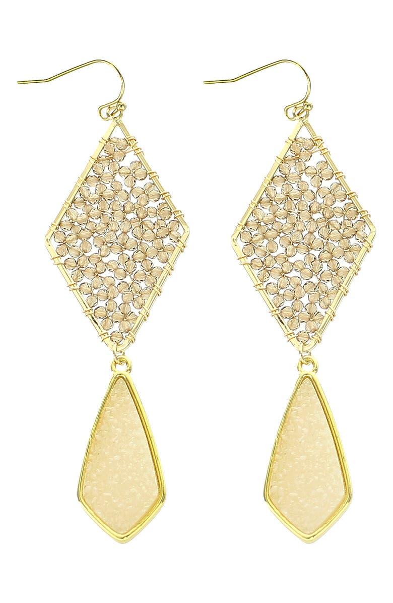 PANACEA Tiered Drusy Drop Earrings, Main, color, 100