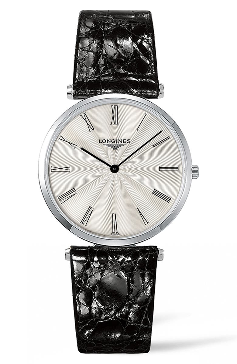 LONGINES La Grande Classique de Longines Leather Strap Watch, 34mm, Main, color, BLACK/ SILVER