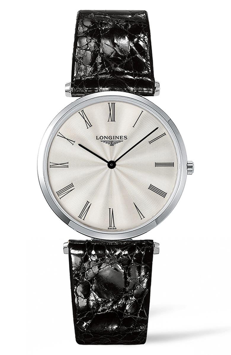 LONGINES La Grande Classique de Longines Alligator Leather Strap Watch, 34mm, Main, color, BLACK/ SILVER