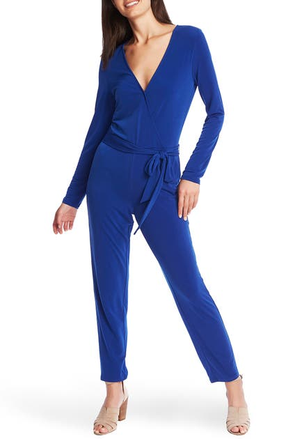 1.state Suits BELTED LONG SLEEVE JERSEY JUMPSUIT