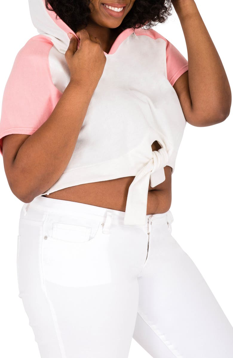 POETIC JUSTICE Ashira Hoodie Top, Main, color, WHITE AND PINK