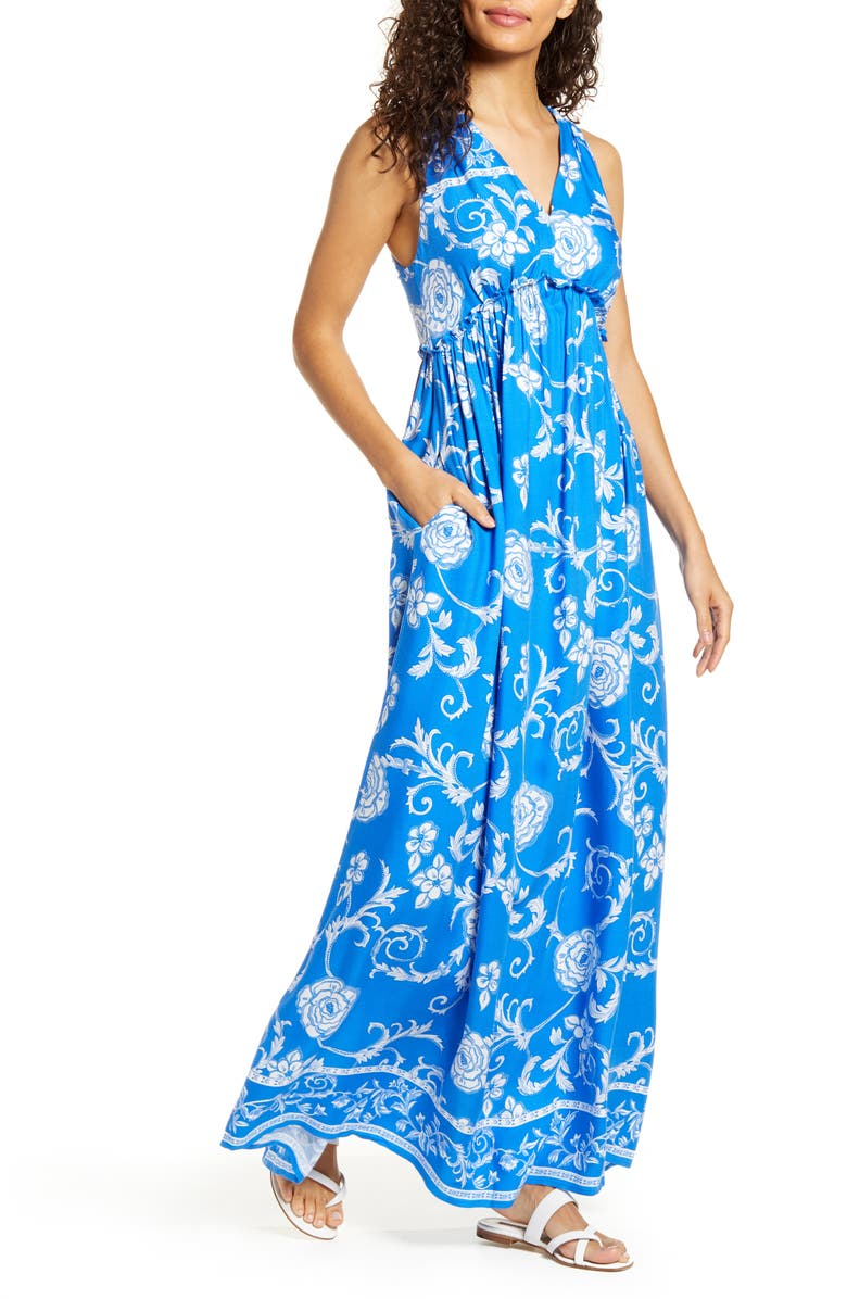 GIBSON x Hi Sugarplum! Amalfi Border Maxi Dress, Main, color, 400