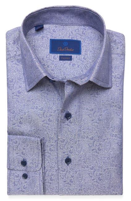 Image of David Donahue Jacquard Print Long Sleeve Fusion Fit Shirt