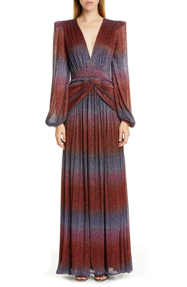 PATBO Rainbow Wrap Long Sleeve Gown, Main, color, MULTI