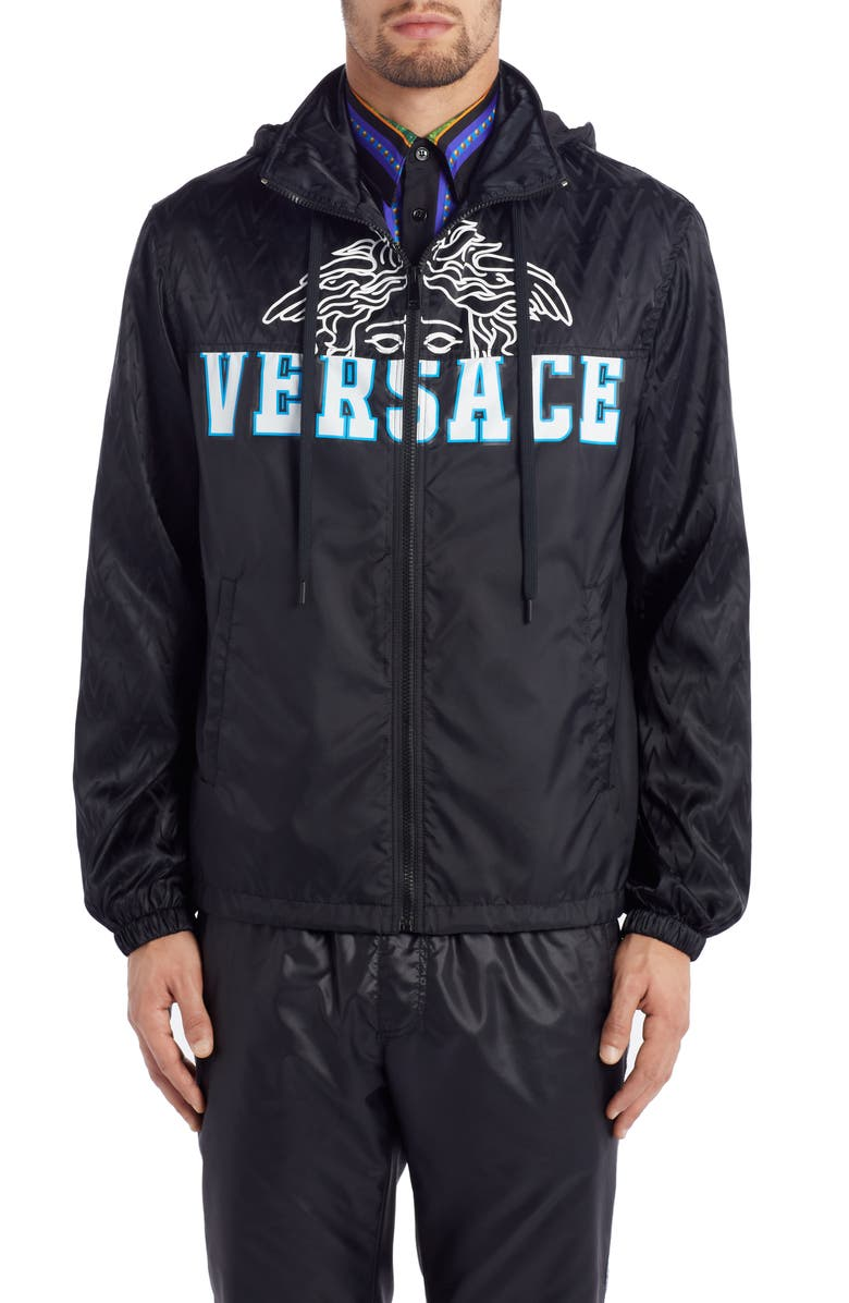 VERSACE Medusa Hooded Nylon Jacket, Main, color, 001