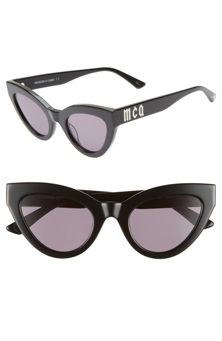 MCQ ALEXANDER MCQUEEN 50mm Cat Eye Sunglasses, Main, color, BLACK