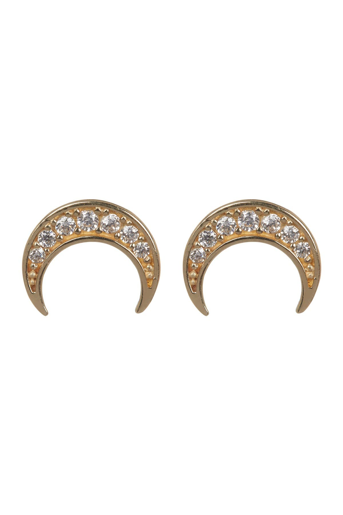 Image of Candela 14K Yellow Gold Pave CZ Crescent Moon Stud Earrings