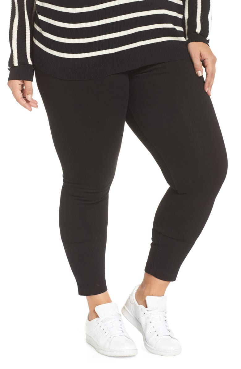 LYSSÉ High Rise Stretch Denim Leggings, Main, color, BLACK