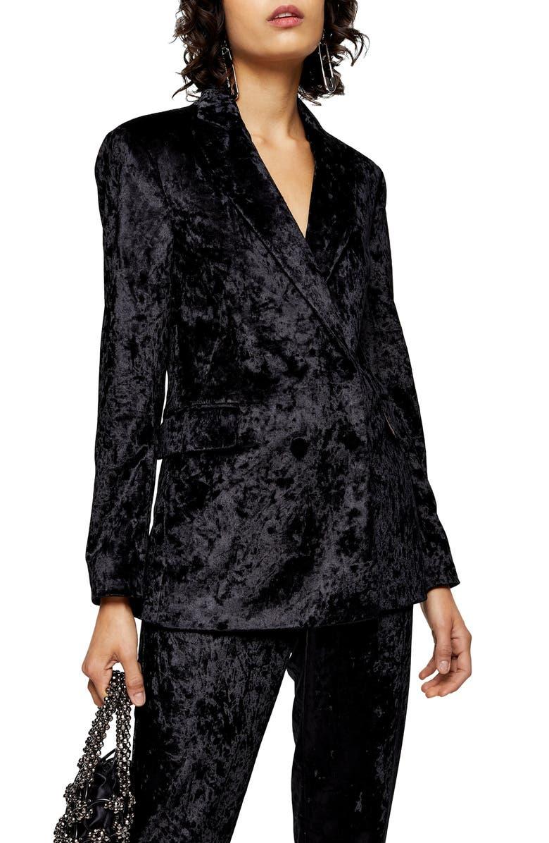 TOPSHOP Bonded Velvet Jacket, Main, color, 001