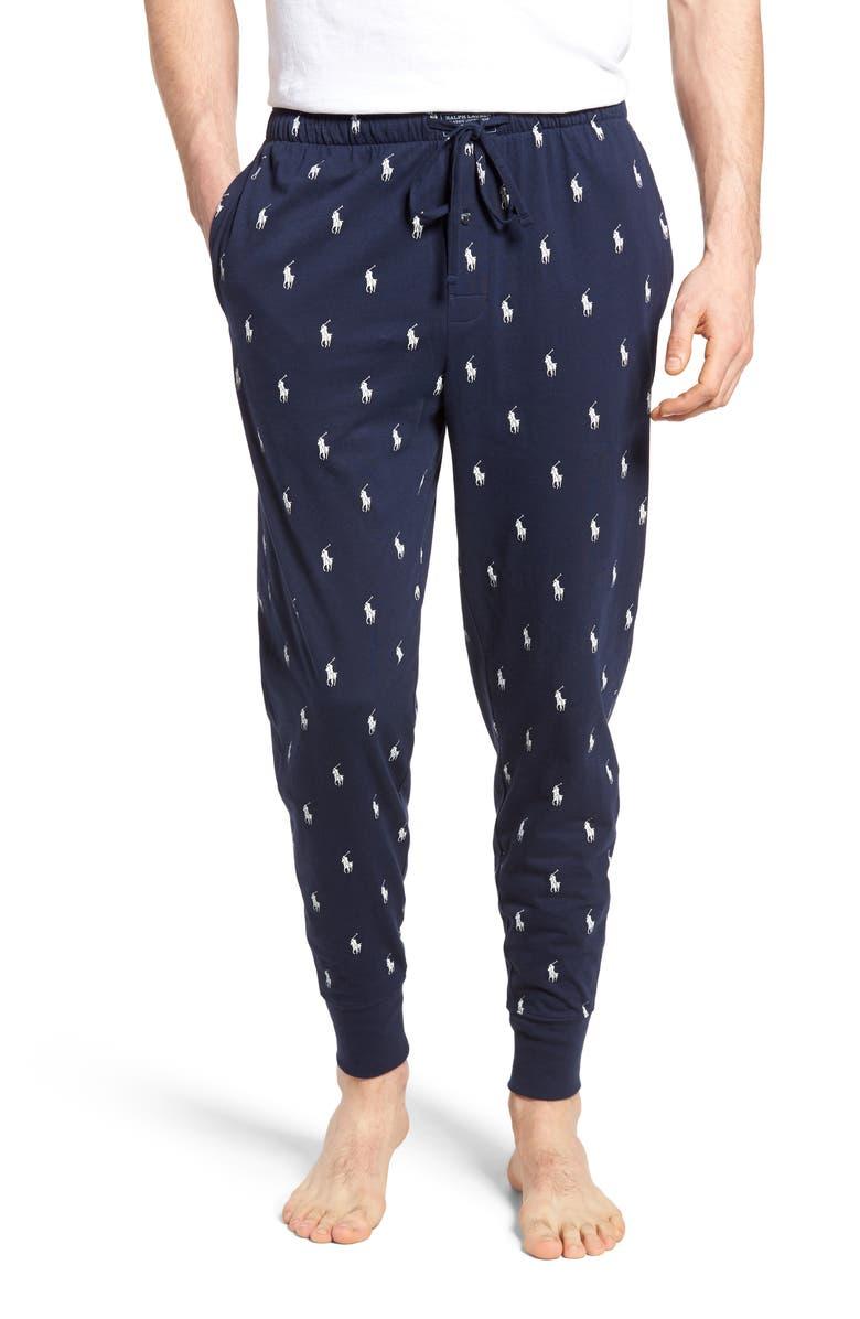POLO RALPH LAUREN Pony Print Pajama Pants, Main, color, CRUISE NAVY/ WHITE