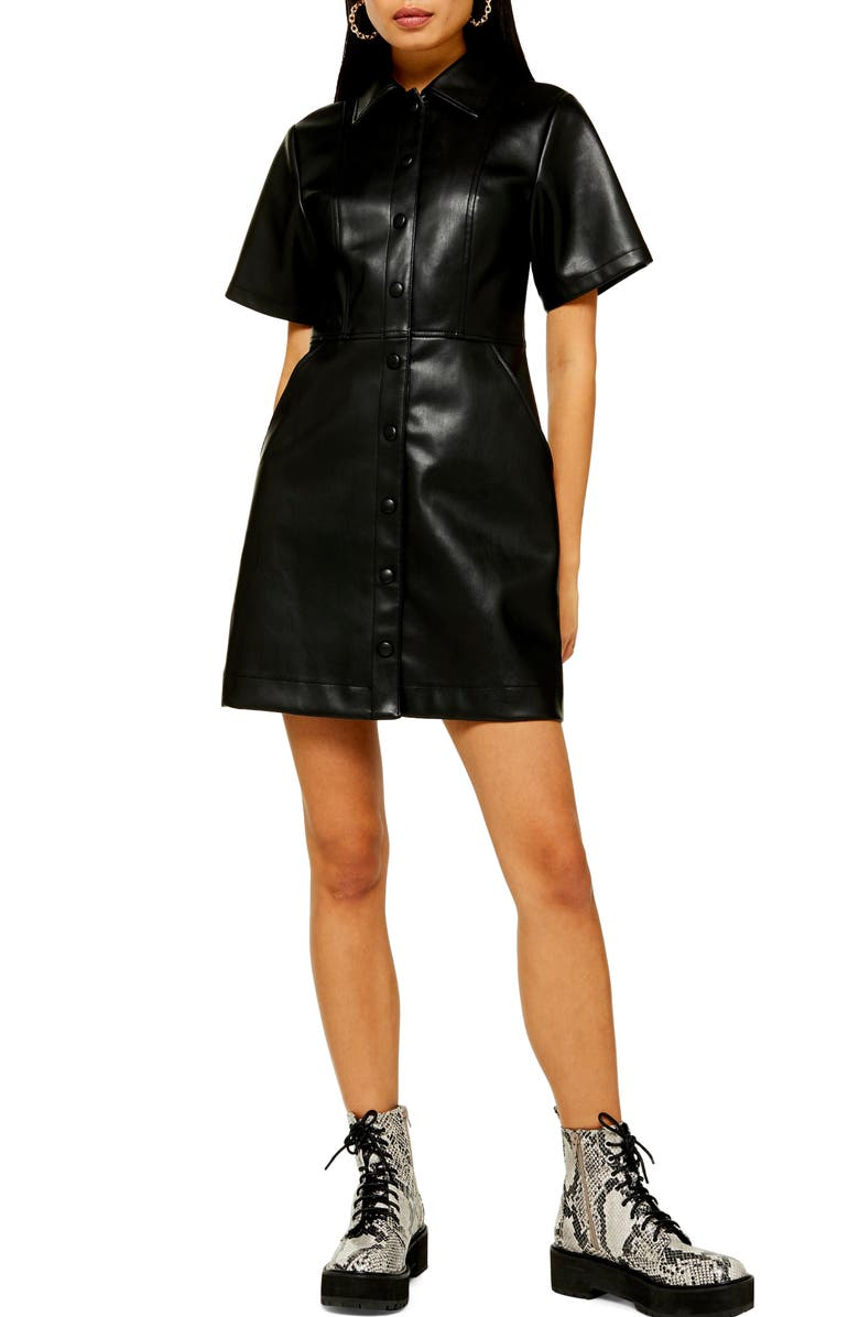 TOPSHOP Faux Leather Shirtdress, Main, color, 001