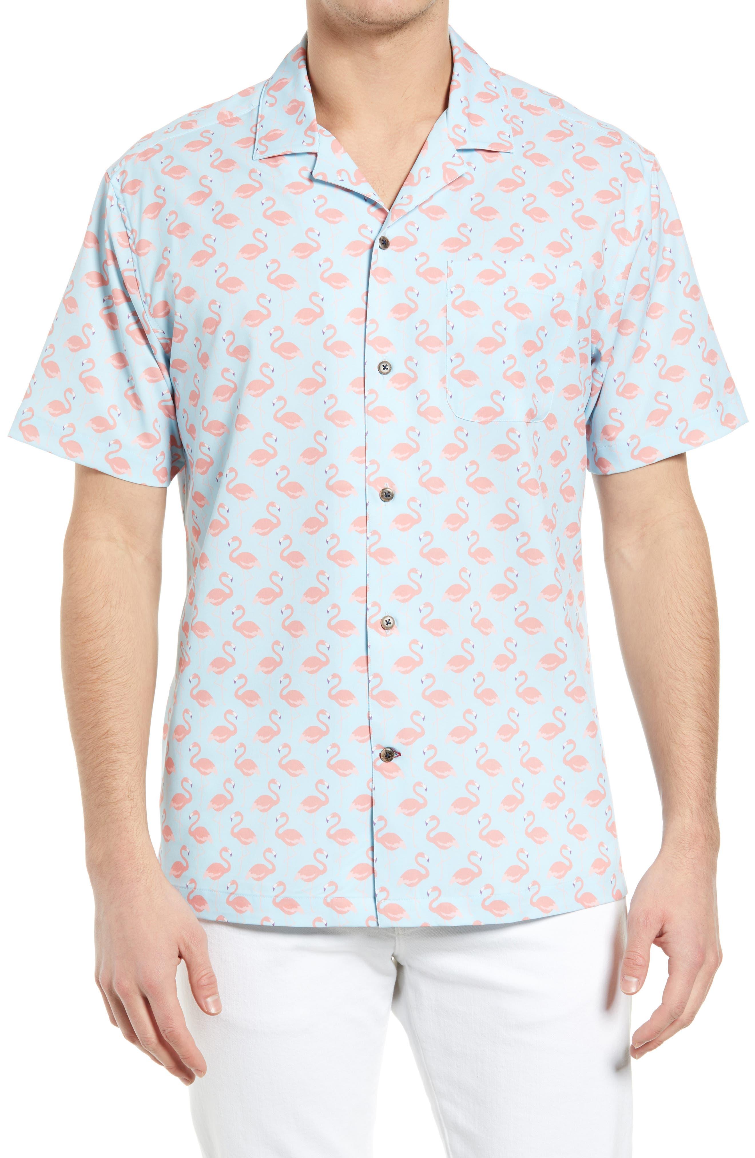 Flamingo Performance Short Sleeve Button-Up Camp Shirt