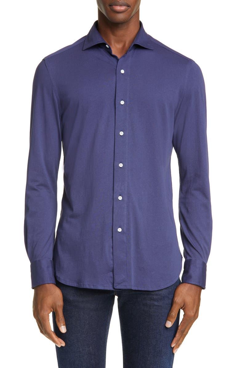 BOGLIOLI Trim Fit Knit Button-Up Shirt, Main, color, 400