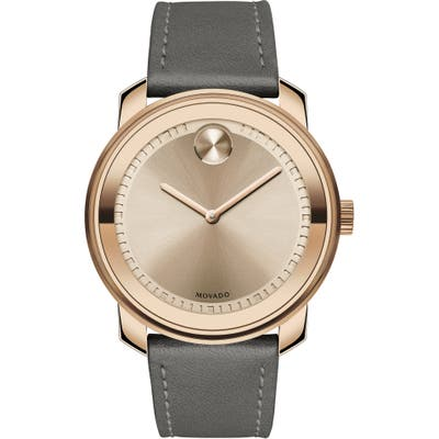 Movado Bold Leather Strap Watch, 42.5Mm