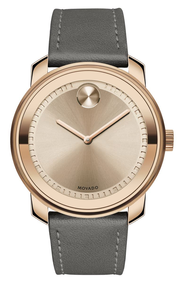 MOVADO Bold Leather Strap Watch, 42.5mm, Main, color, GREY/ ROSE GOLD