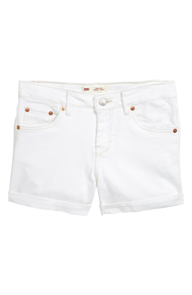 LEVI'S<SUP>®</SUP> High Waist Rolled Cuff Denim Shorts, Main, color, 100