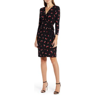 Anne Klein Chatterly Rose Classic Long Sleeve Wrap Dress, Black