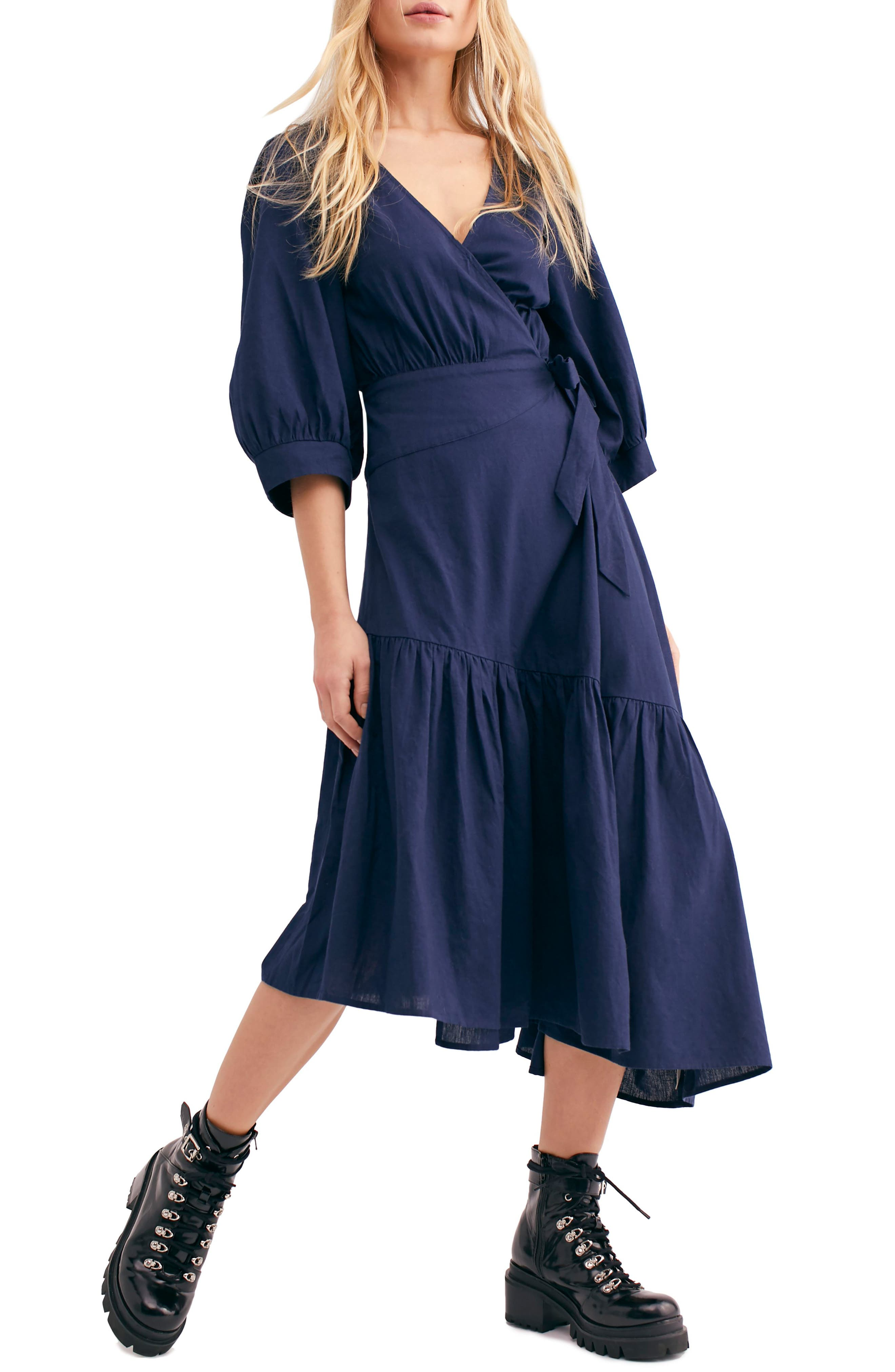 ,                             Endless Summer by Free People Don't Mind If I Do Midi Dress,                             Main thumbnail 1, color,                             DARK BLUE