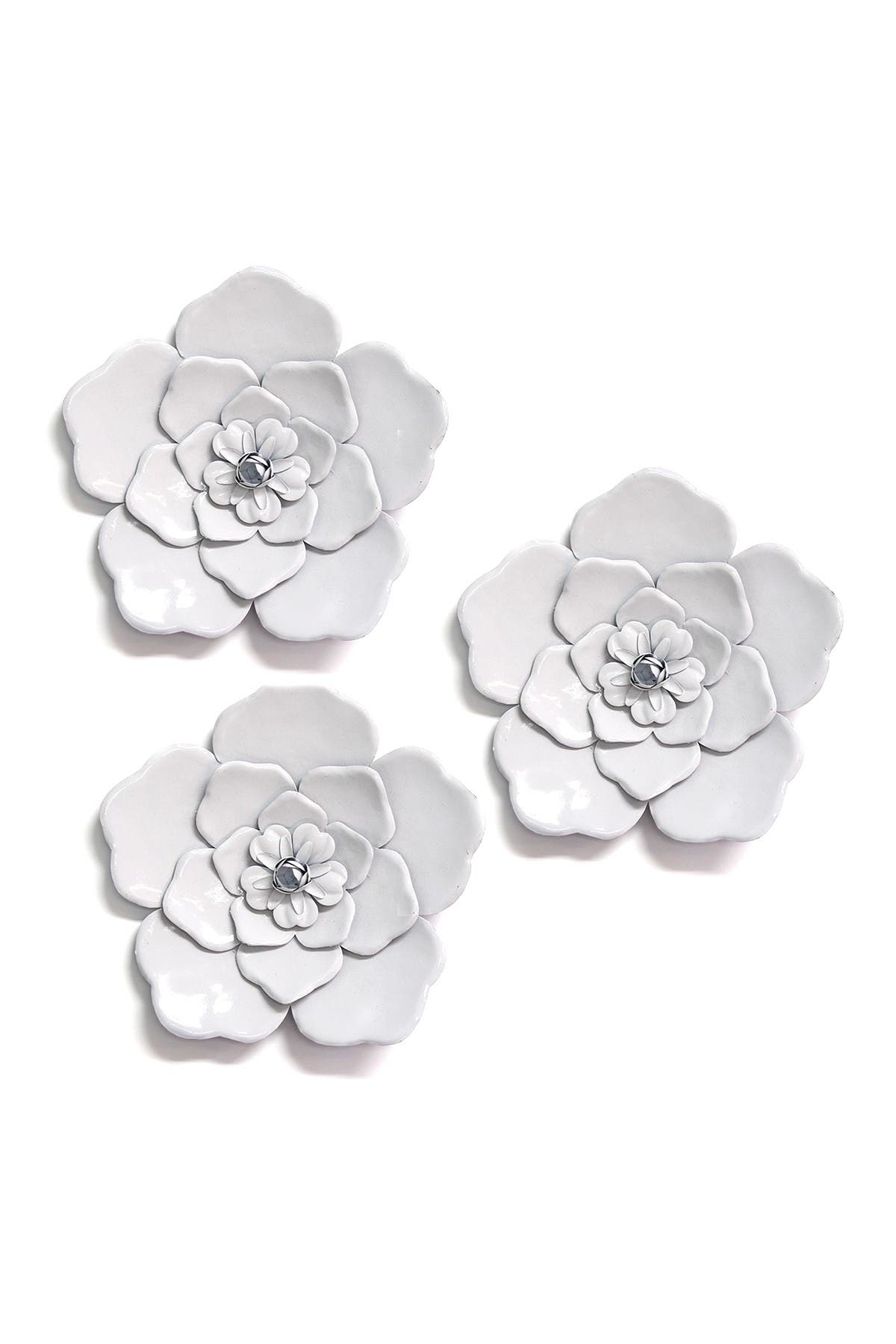 Image of Stratton Home White Metal Wall Flowers - Set of 3