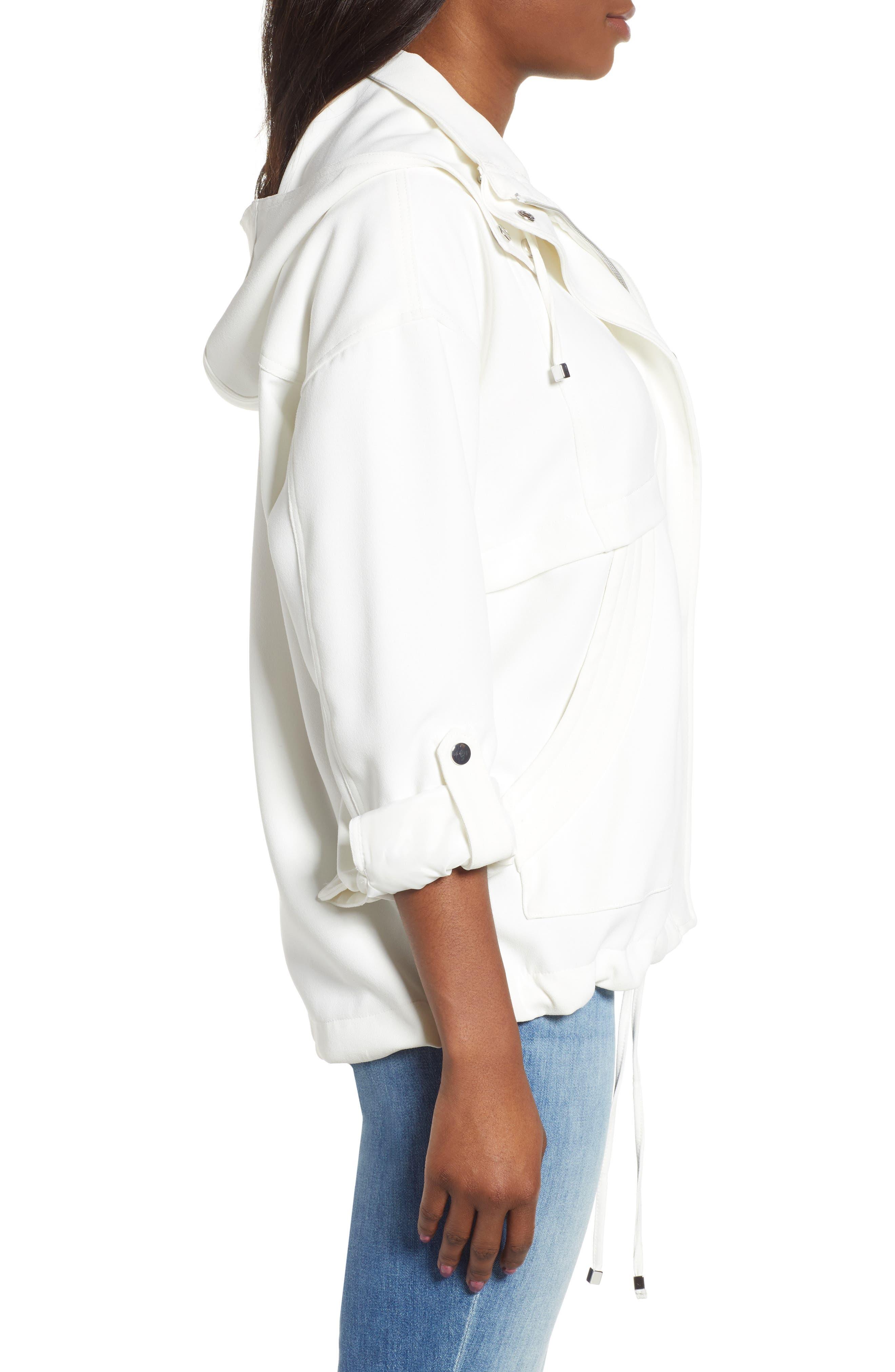 ,                             Crepe Blouson Hooded Jacket,                             Alternate thumbnail 4, color,                             WHITE