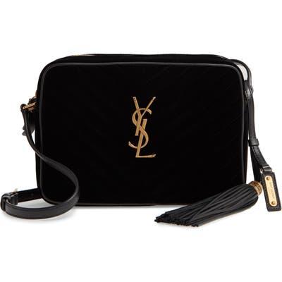 Saint Laurent Lou Velvet Matelasse Camera Bag - Black