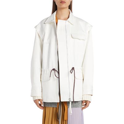 Moncler Genius X 2 1952 Clover Drawstring Shirt Jacket, White