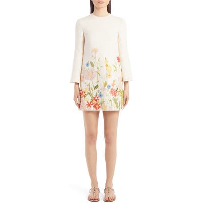 Valentino Embroidered Floral Wool & Silk Long Sleeve Shift Dress, US / 44 IT - Ivory