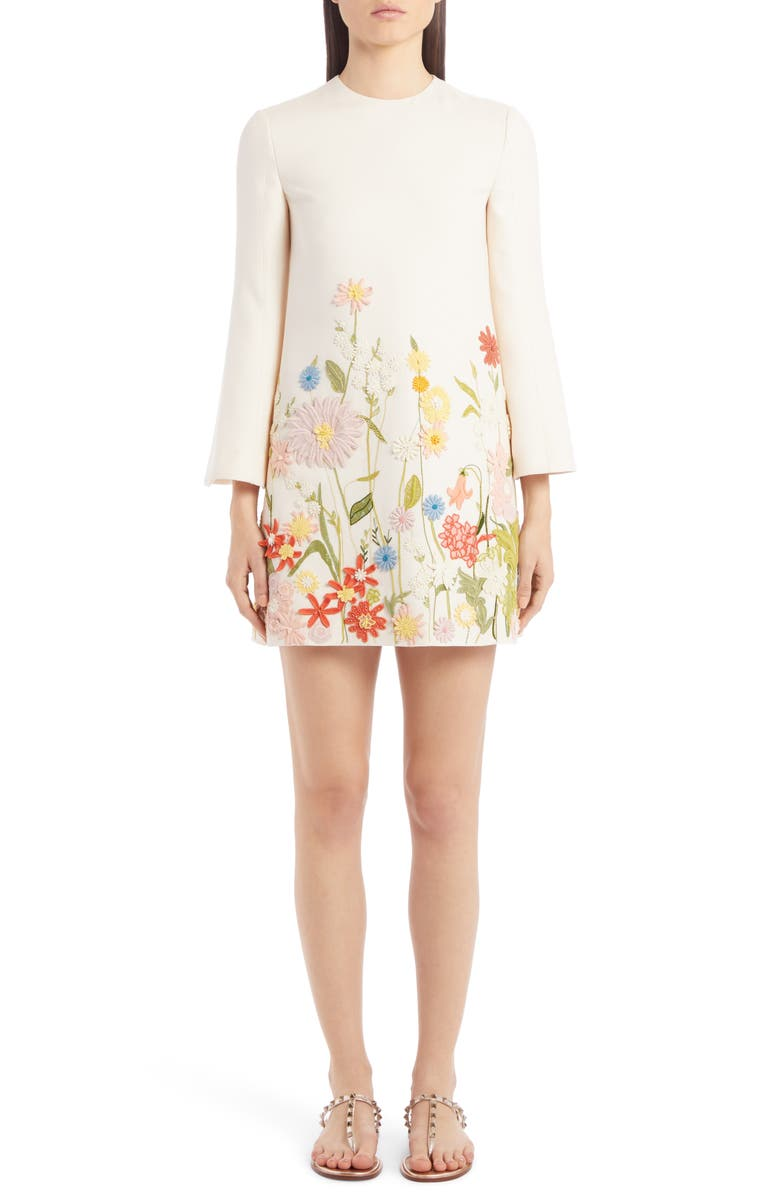 VALENTINO Embroidered Floral Wool & Silk Long Sleeve Shift Dress, Main, color, AVORIO/ MULTICOLOR