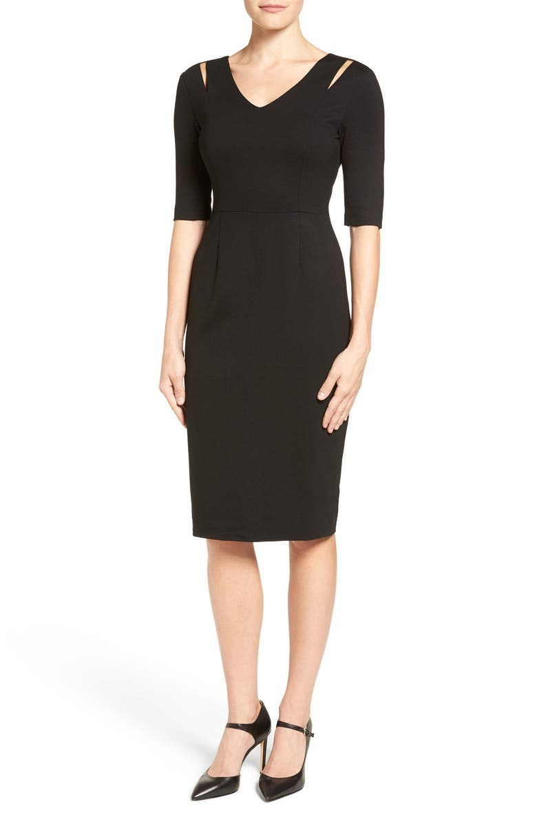 HALOGEN<SUP>®</SUP> Cutout Shoulder Sheath Dress, Main, color, 001