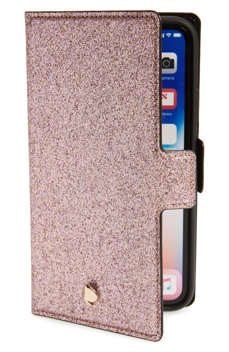 KATE SPADE NEW YORK magnetic iPhone X/Xs/Xs Max & XR folio, Main, color, ROSE GOLD