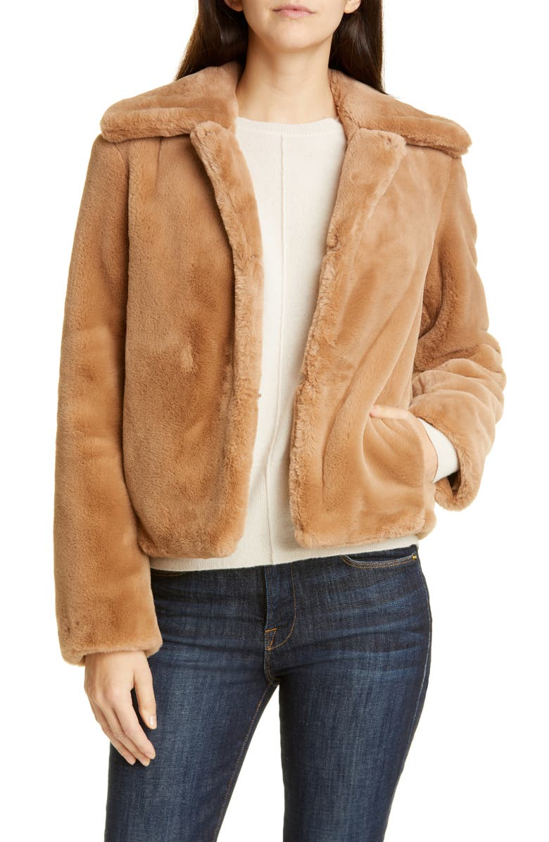 THEORY Faux Rabbit Fur Jacket, Main, color, CAMEL