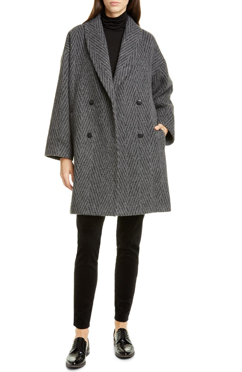 EILEEN FISHER Double Breasted Alpaca & Wool Blend Coat, Main, color, 030