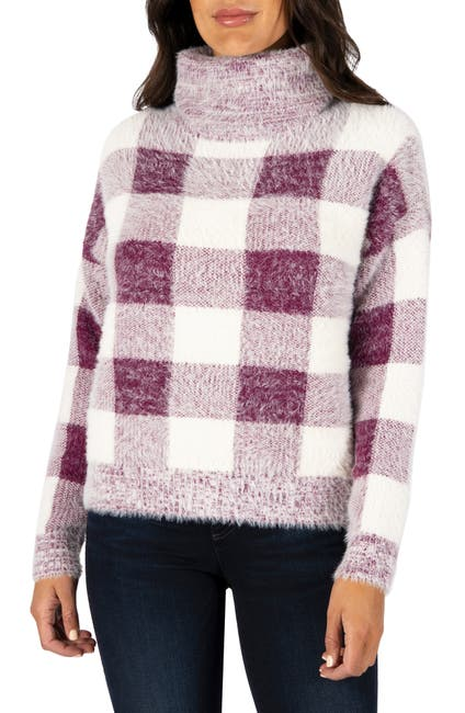 Image of KUT from the Kloth Evea Buffalo Plaid Turtleneck Sweater