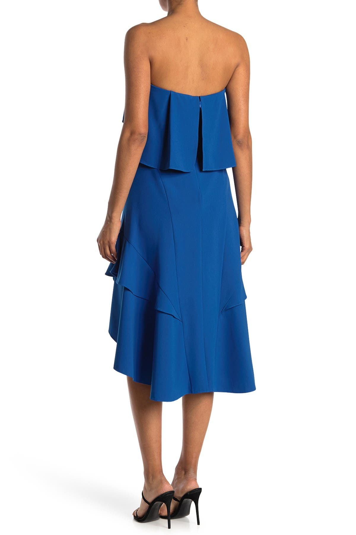 Image of HALSTON Strapless Flounce Dress