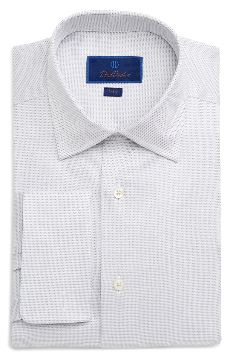 DAVID DONAHUE Trim Fit Dot Dress Shirt, Main, color, GREY