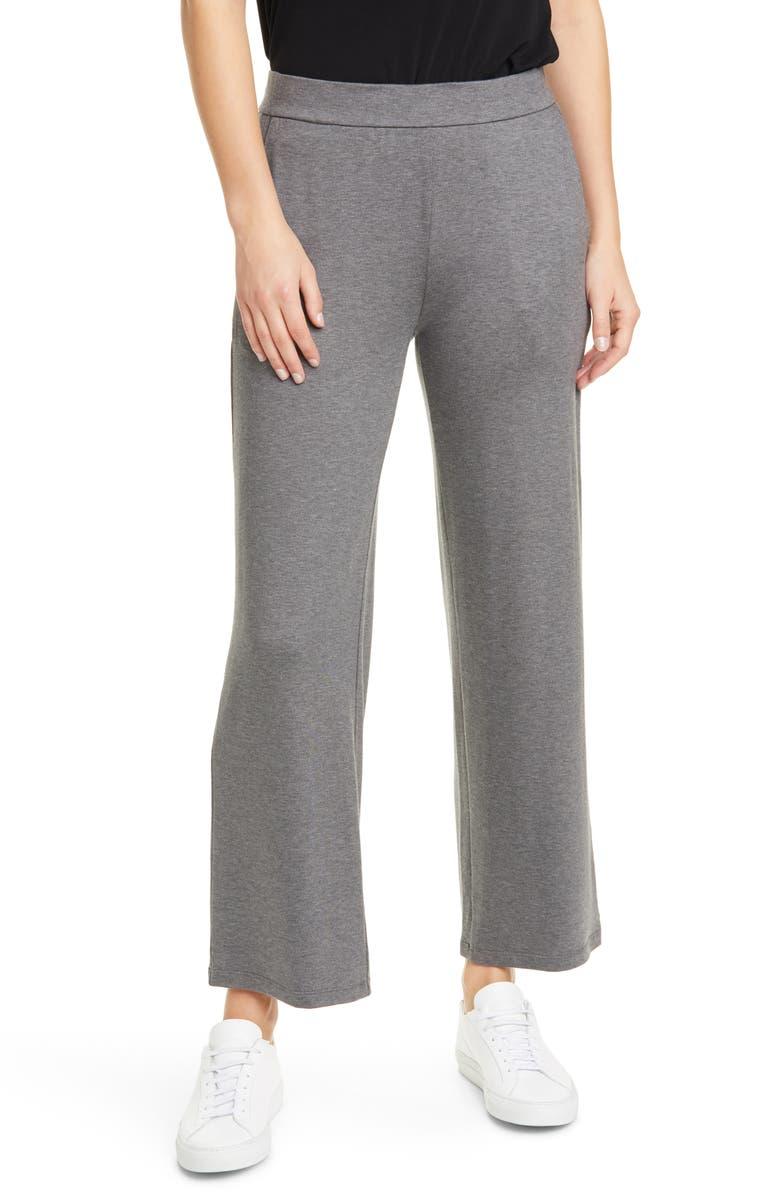 EILEEN FISHER Ankle Straight Pants, Main, color, ASH