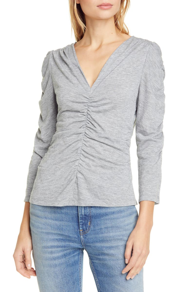 REBECCA TAYLOR Ruched Jersey Top, Main, color, LIGHT GREY MLANGE