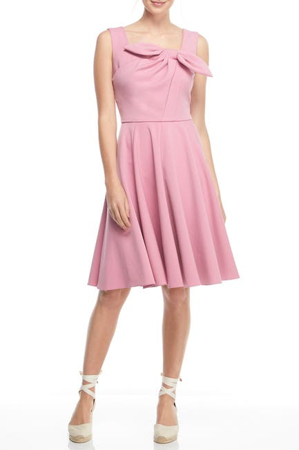 Image of Gal Meets Glam Zoe Pleated Bow A-Line Dress