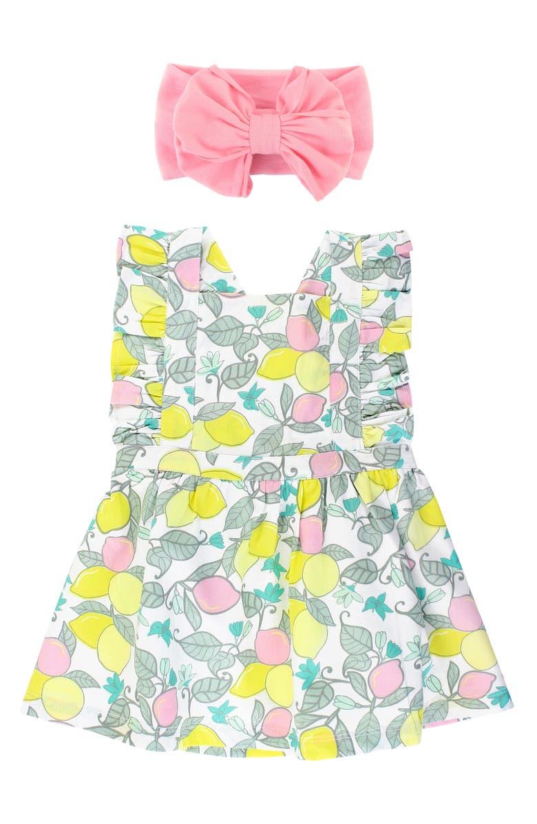 RUFFLEBUTTS Lemonade Ruffle Dress & Head Wrap Set, Main, color, WHITE