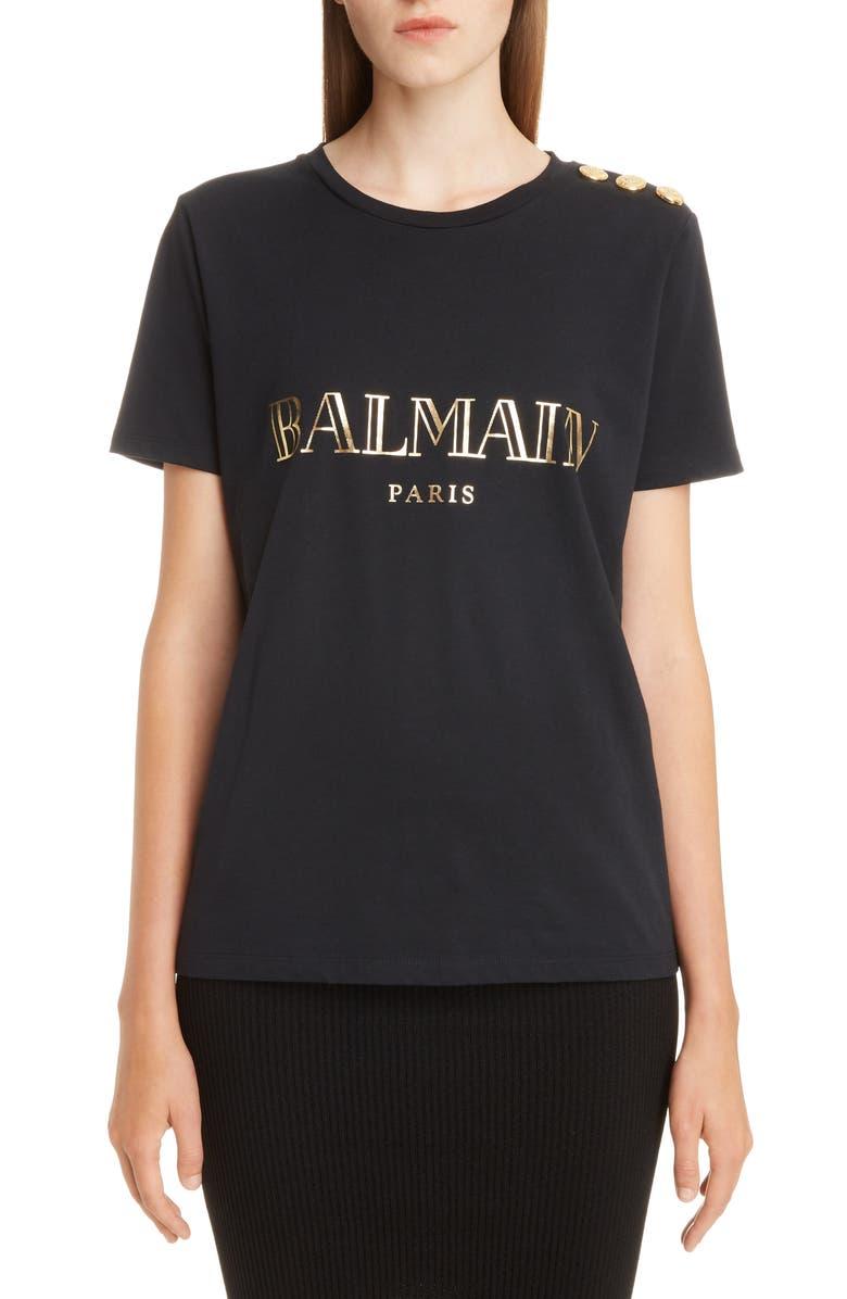 BALMAIN Button Shoulder Logo Tee, Main, color, EAD NOIR/ OR