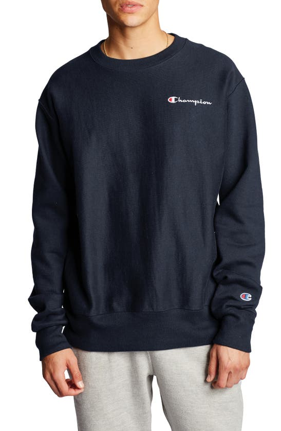 Champion Men's C-life Reverse Weave Logo Sweatshirt In Navy