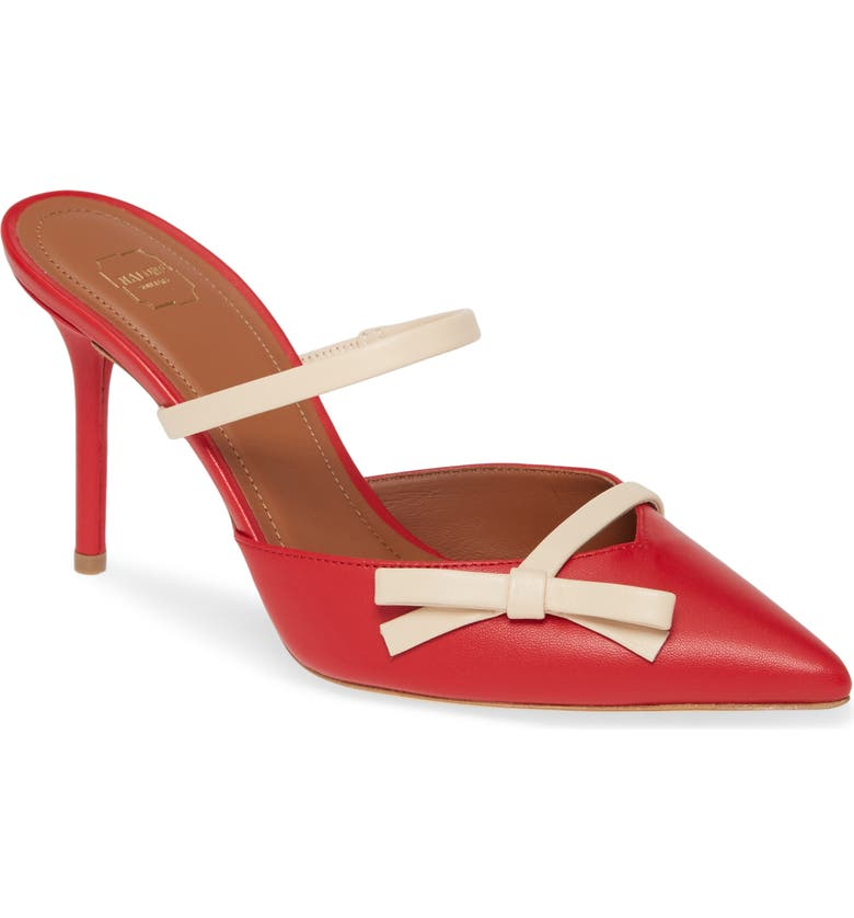 MALONE SOULIERS Bow Band Pointed Toe Mule, Main, color, RED CAKE