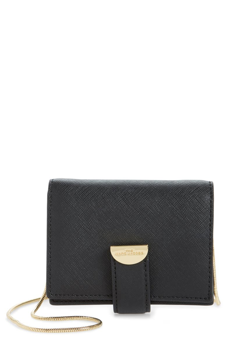 THE MARC JACOBS Marc Jacobs Leather Card Case on a Chain, Main, color, BLACK