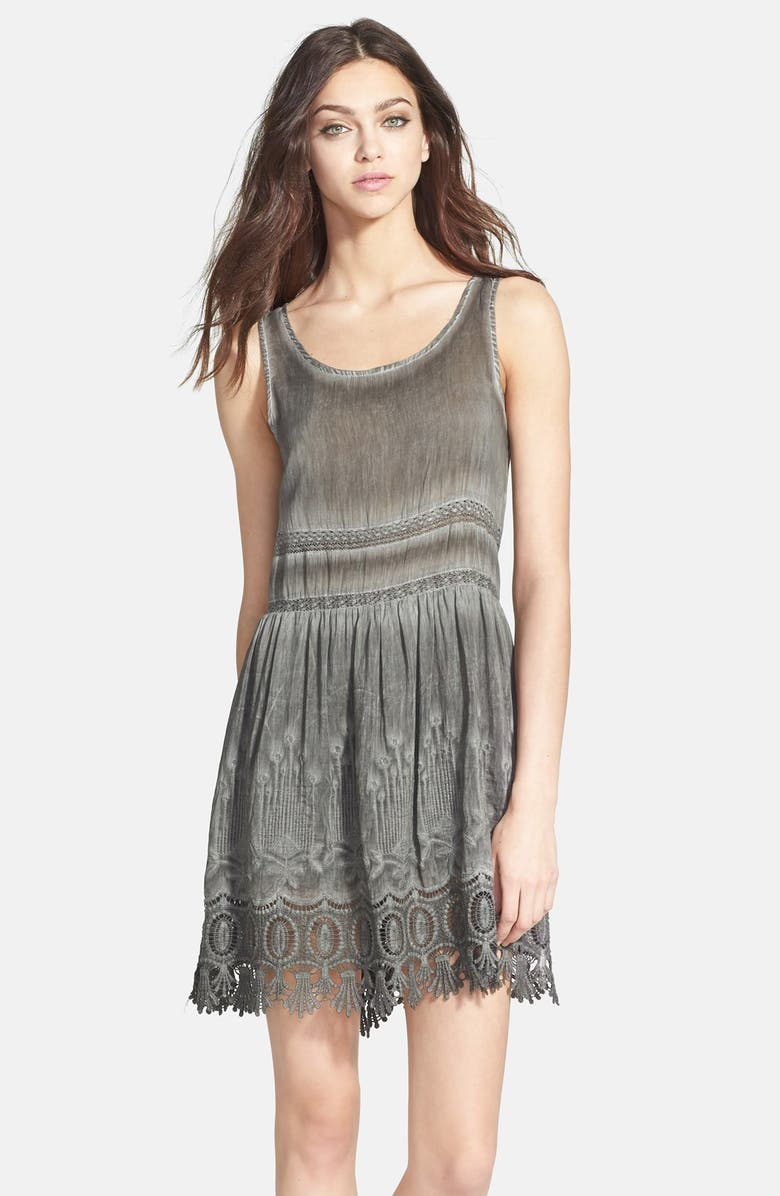 BLACK SWAN Embroidered & Lace Embellished Babydoll Dress, Main, color, 050