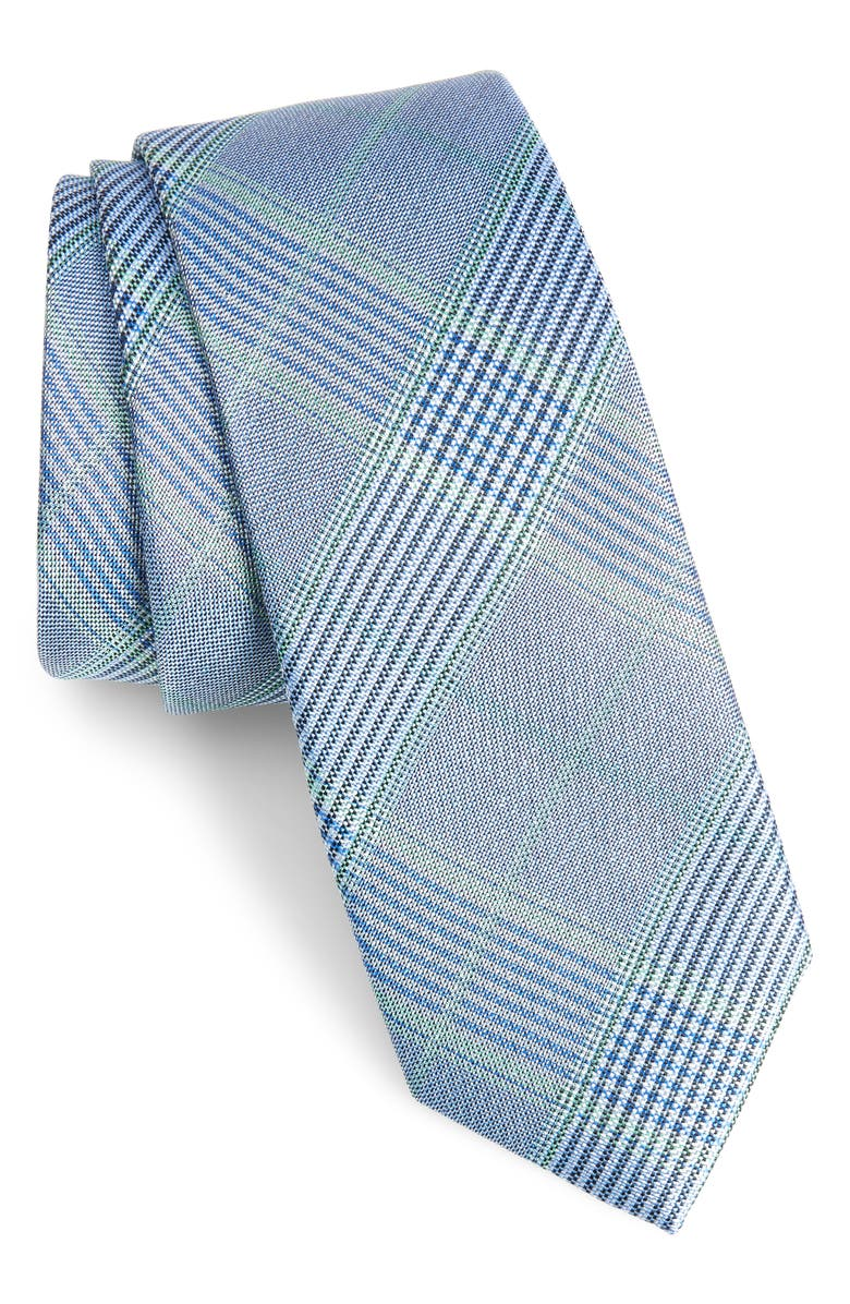 1901 Dante Plaid Silk Tie, Main, color, BLUE