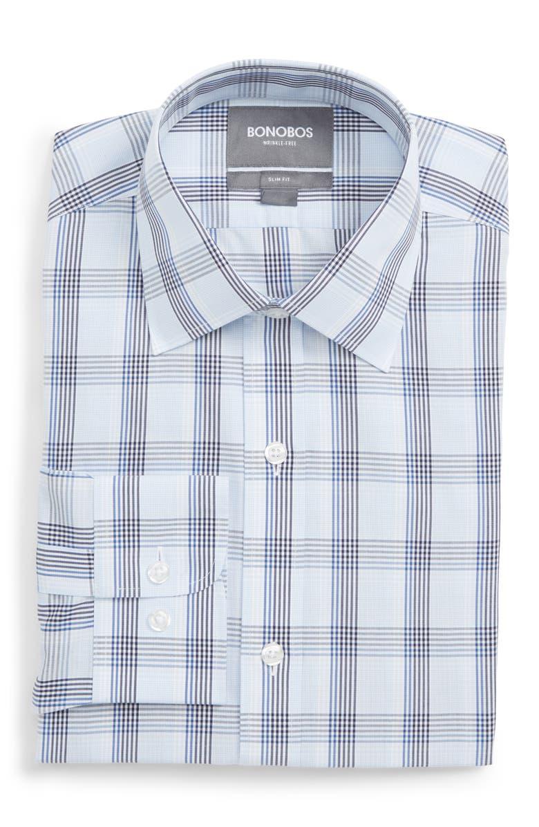 BONOBOS Daily Grind Slim Fit Plaid Dress Shirt, Main, color, 400