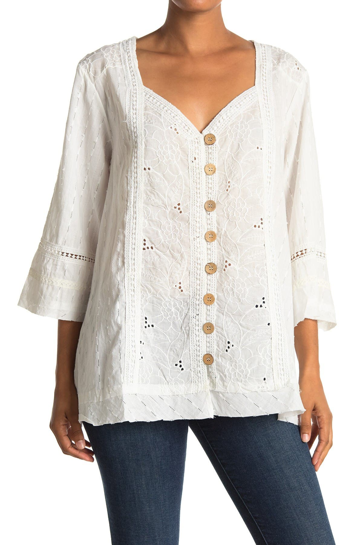 Image of Forgotten Grace Button Front Eyelet Tunic