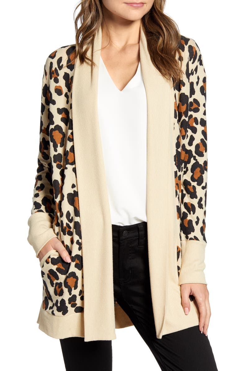 GIBSON Cozy Ribbed Cardigan, Main, color, NEUTRAL LEOPARD