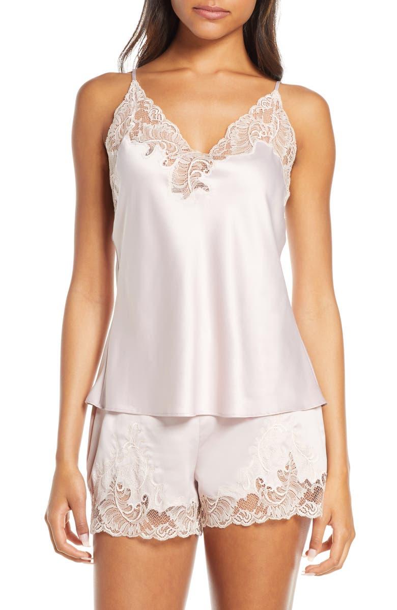 NATORI Feathers Charm Satin Short Pajamas, Main, color, RBP ROSE BEIGE