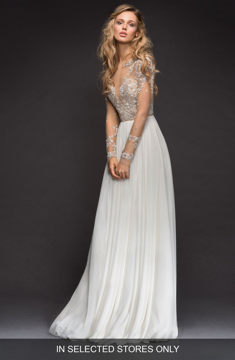 HAYLEY PAIGE Pascal Embellished Net & Chiffon A-Line Gown, Main, color, IVORY